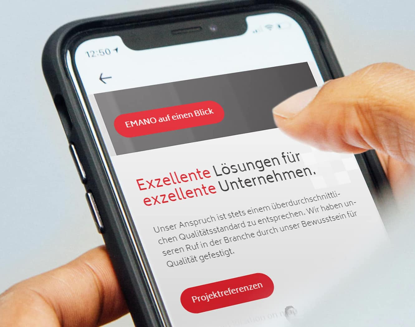 Digitale Medien: Emano Website Design und Konzeption mobile Version